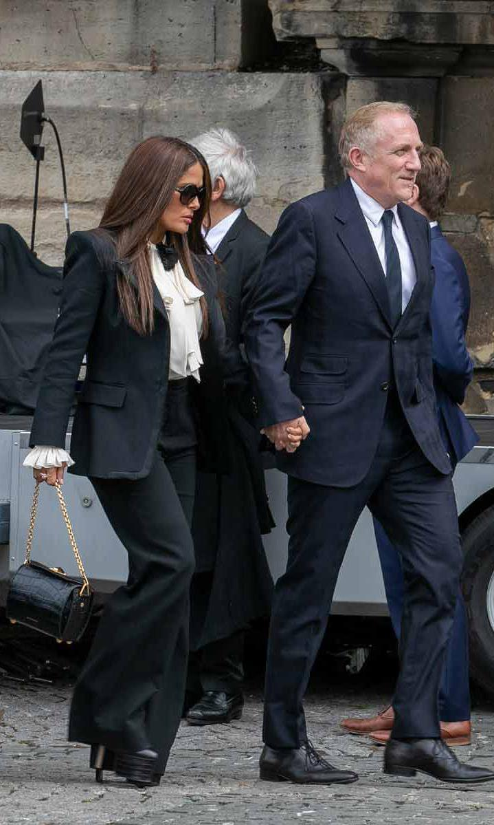 Salma Hayek and husband at Jacques Chirac funeral