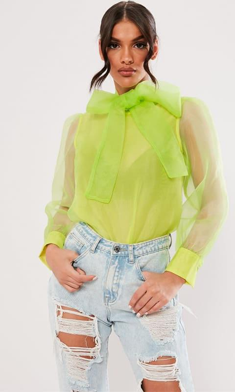 Lime Organza Pussybow Blouse de Missguided