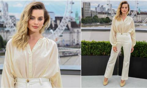 Margot Robbie with a relaxed monochromatic look
