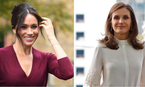 Meghan Markle and Queen Letizia red skirt