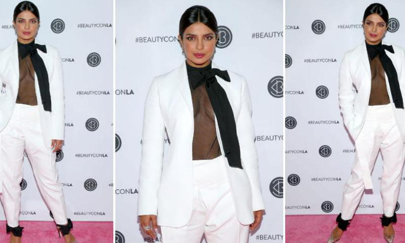 Priyanka Chopra impacted with her power suit and transparent blouse in Los Angeles