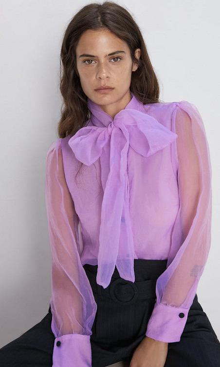 Organza Blouse With Tie by Zara