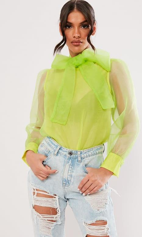 Lime Organza Pussybow Blouse by Missguided