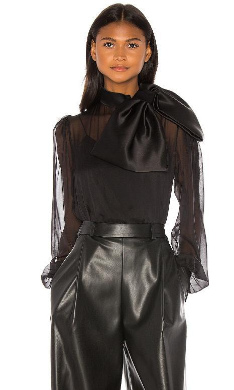 High Neck Drape Front Silk Bow Blouse by Anouki