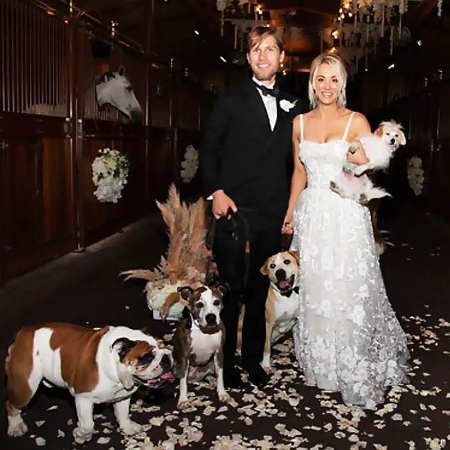 Kaley Cuoco and her pets at her wedding