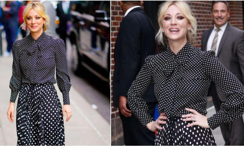 Kaley Cuoco lleva un head-to-toe look de lunares en blanco y negro
