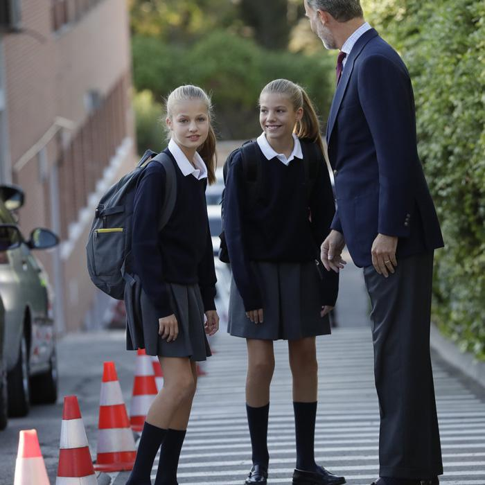 Queen Letizia and King Felipe take daughters to first day of school
