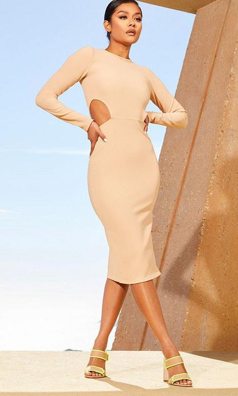 Nude Second Skin Cut Out Side Midi Dress by Pretty Little Thing