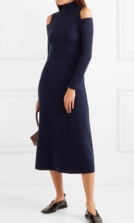 Silveira cold-shoulder wool-blend midi dress by Gabriela Hearst