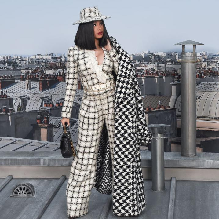 Cardi B with a maxi Chanel coat in houndstooth print