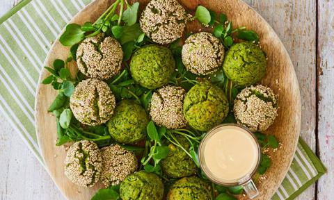 Green Falafel with Tahini dressing
