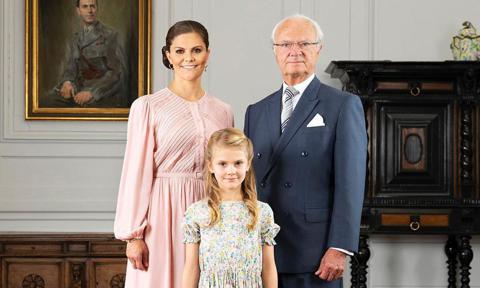 Princess Victoria with dad and daughter Estelle of Sweden