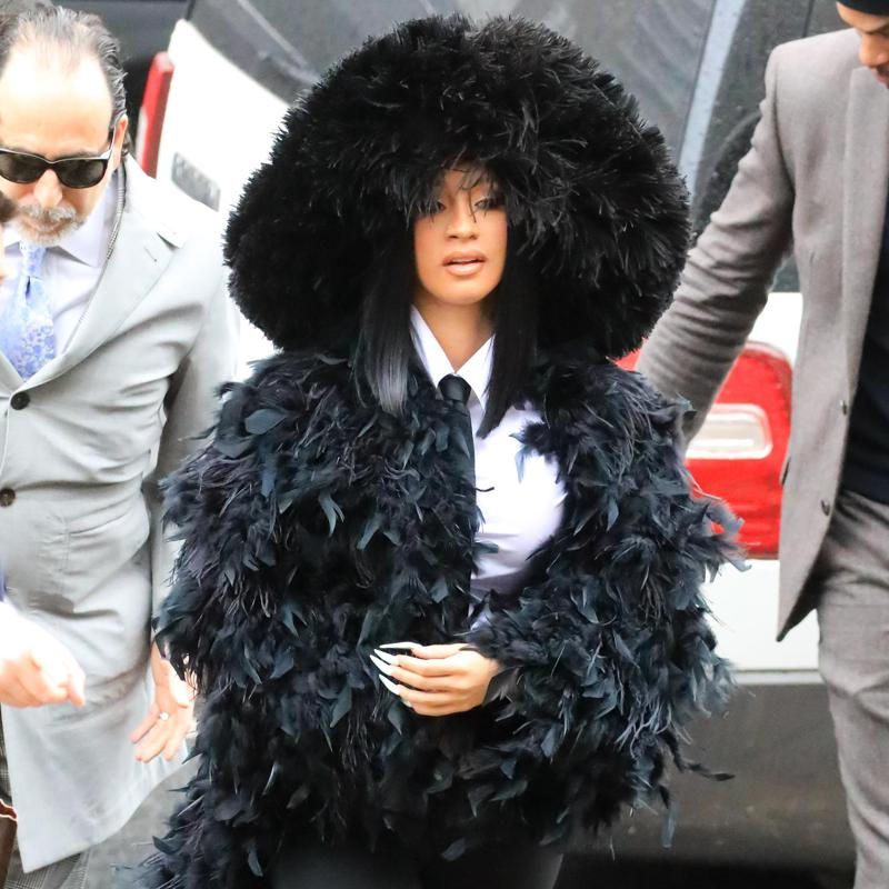 Cardi B feathered look to court