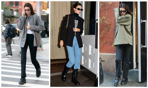 Kendall Jenner con combat boots en tres looks distintos