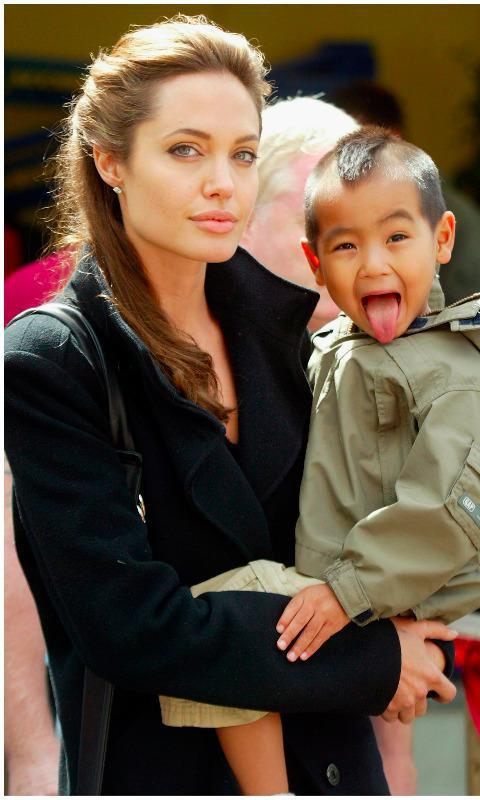 Angelina Jolie with Maddox, her oldest son