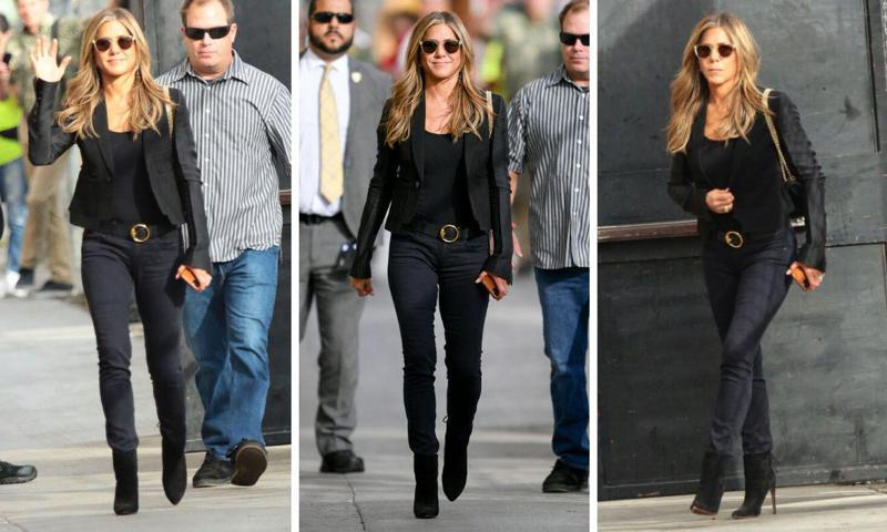 Jennifer Aniston in a dark coordinated outfit