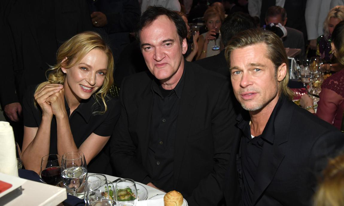 Brad Pitt, Quentin Tarantino and Uma Thurman