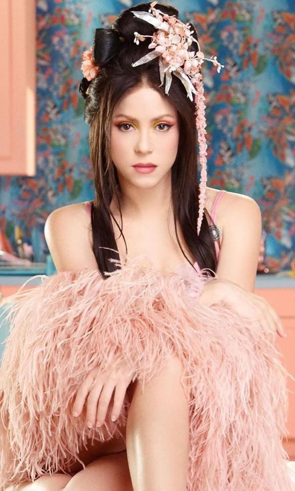 Shakira with long, straight dark hair and oriental style makeup