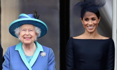 Meghan Markle and Queen Elizabeth watch the RAF flypast together
