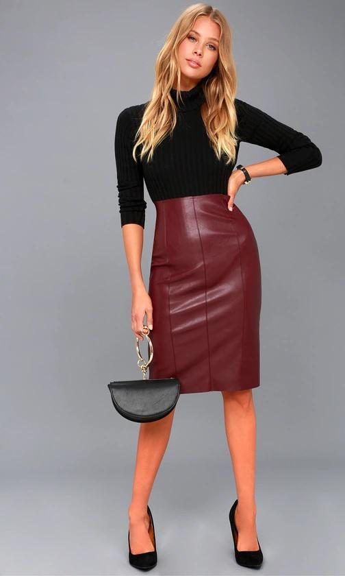 Pencil Me In Burgundy Vegan Leather Midi Skirt de Lulus