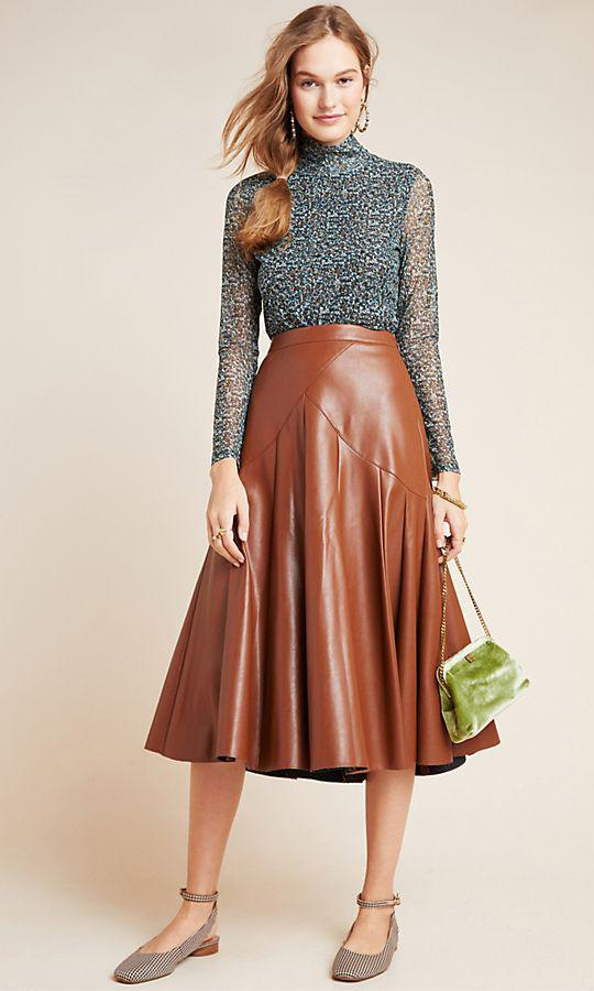 Mariska Faux Leathe Midi Skirt de Anthropologie