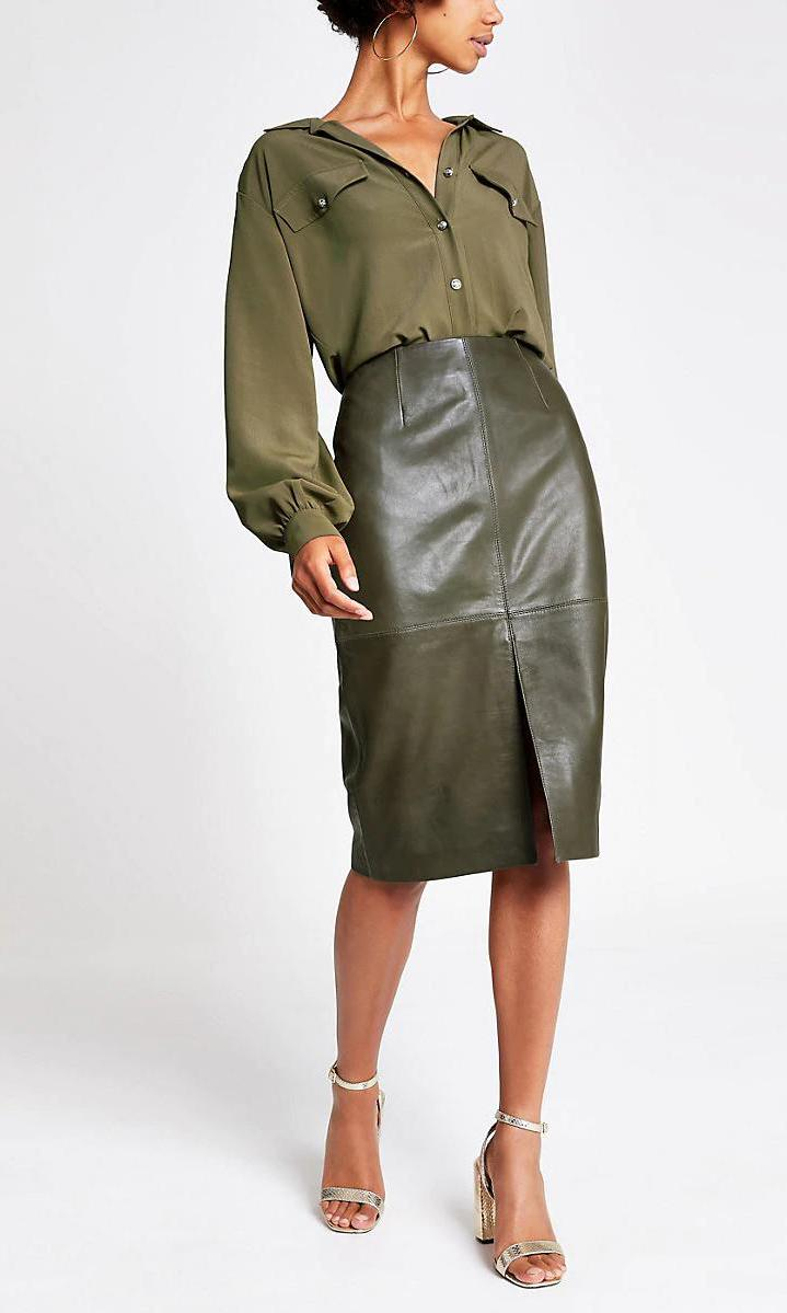 Dark Green Leather Pencil Skirt de River Island