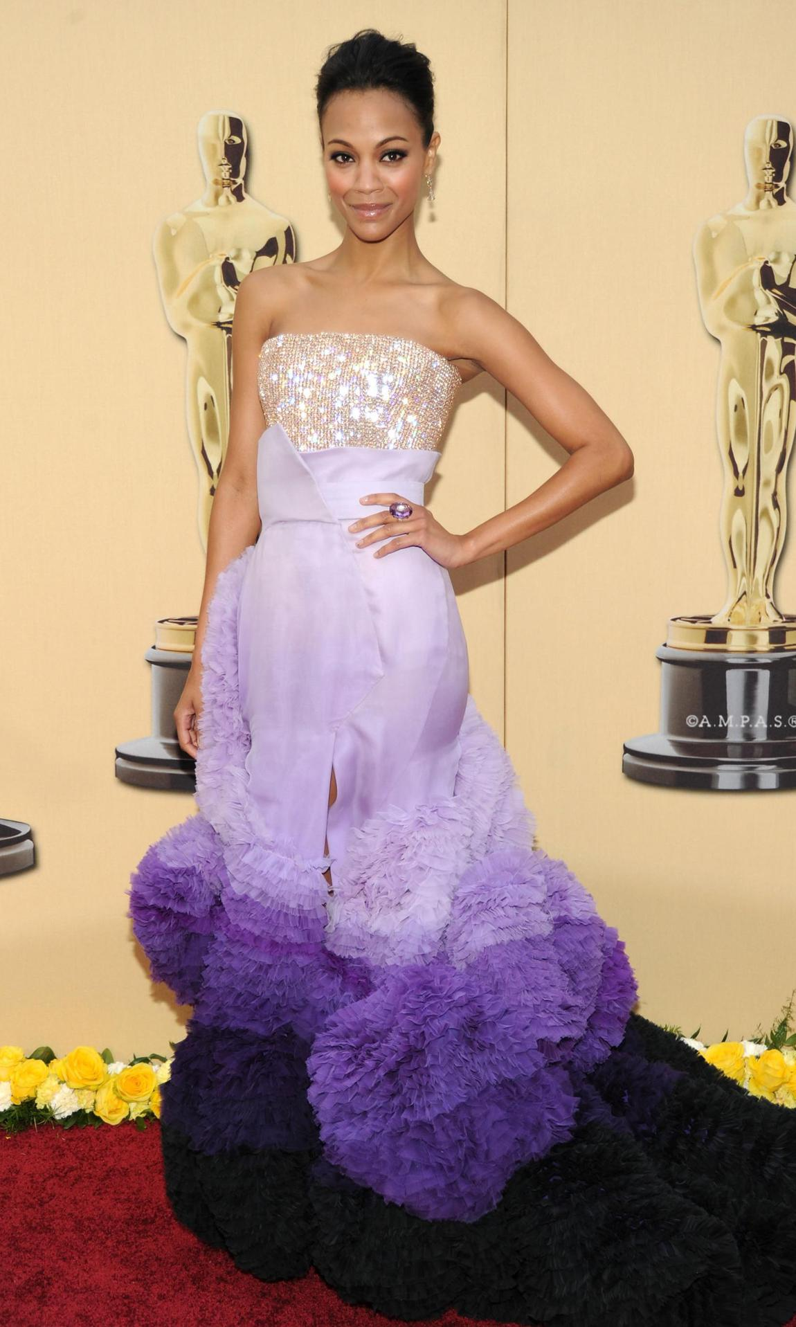 Zoe Saldana in a purple Givenchy Couture dress