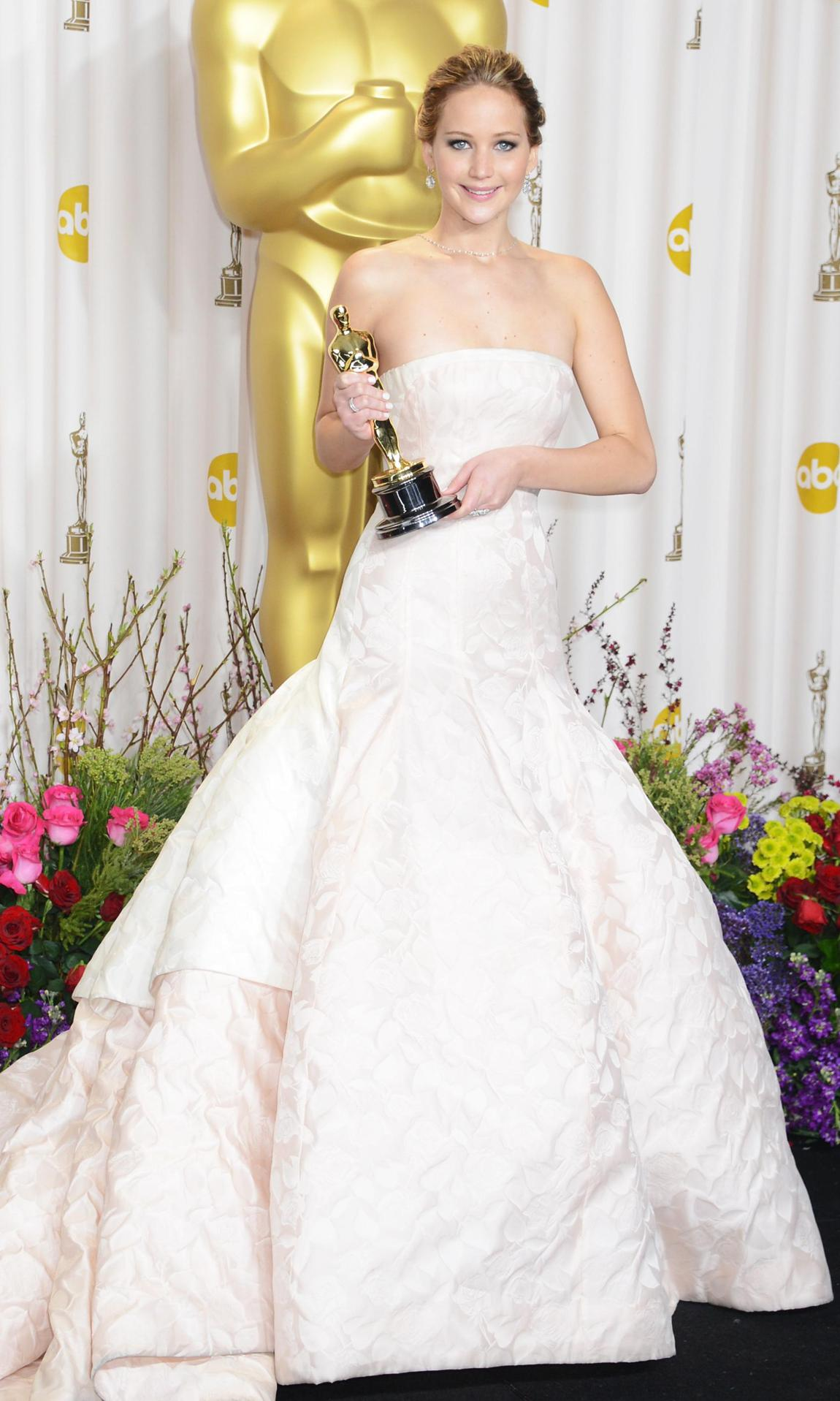 Jennifer Lawrence in a white Christian Dior gown