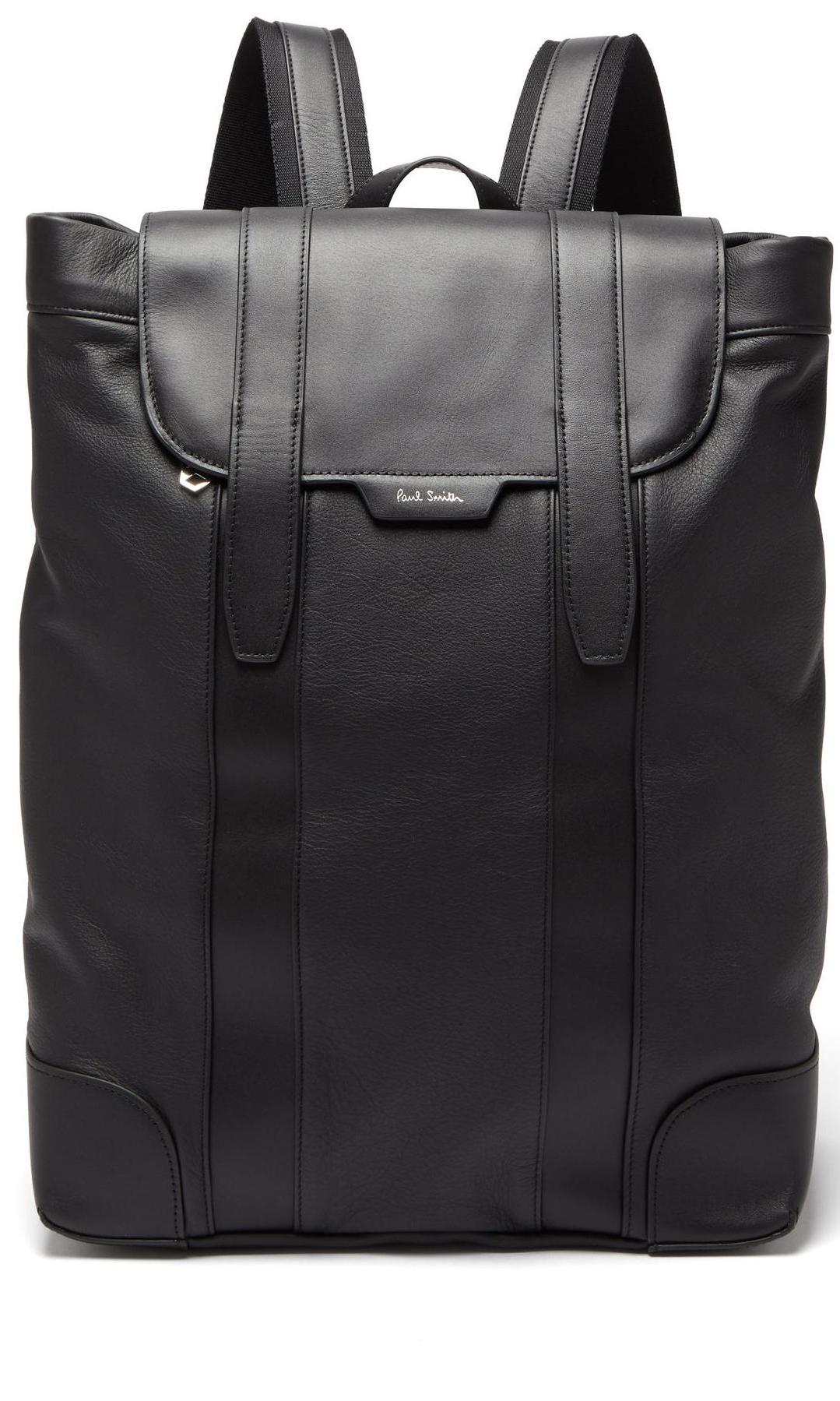 Logo-print soft grained leather backpack de Paul Smith