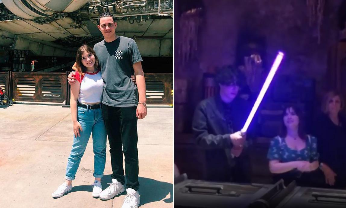 Marc Anthony's son Cristian Muñiz and girlfriend at Disneyland