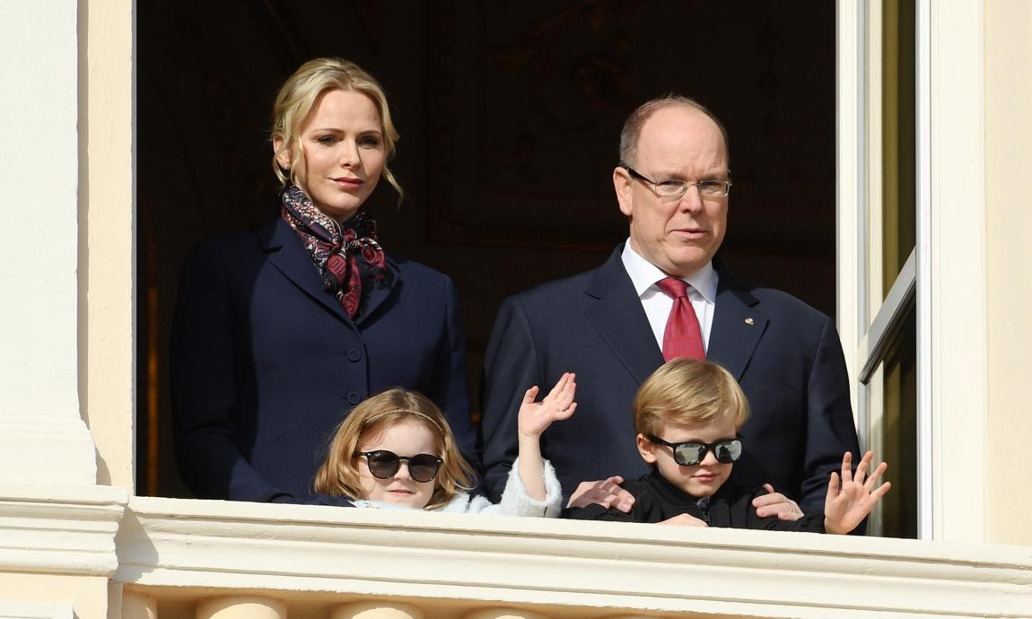Gabriella and Jacques looked cool in their sunglasses as they waved from the balcony of the palace.
