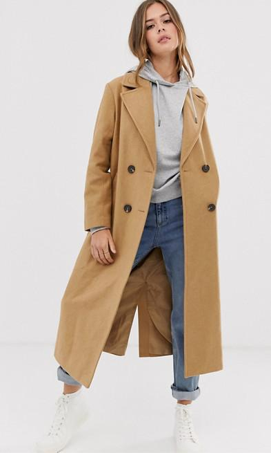 Tailored camel maxi coat - New Look