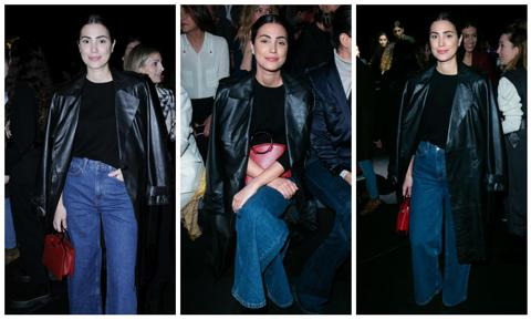 Alessandra de Osma in denim and leather