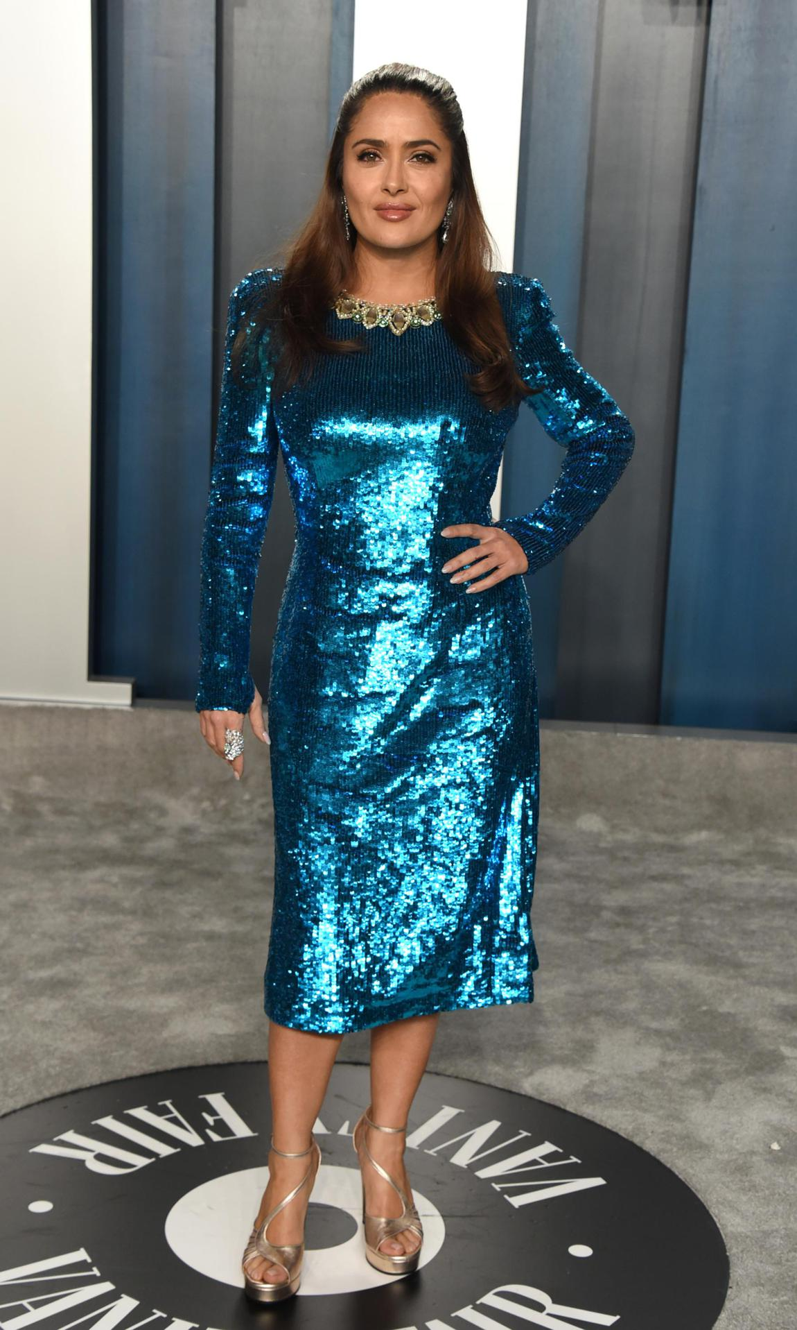 Salma Hayek at Vanity Fair's Oscar after-party prior visit to the hospital