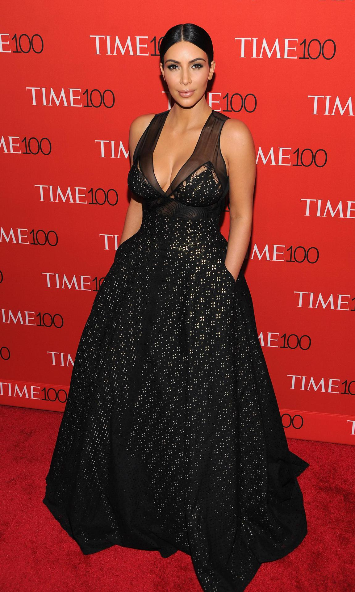 Kim Kardashian in a black and silver dress by Sophie Theallet