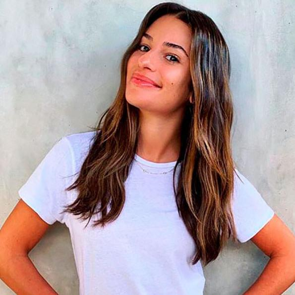 Lea Michele with balayage hair coloring