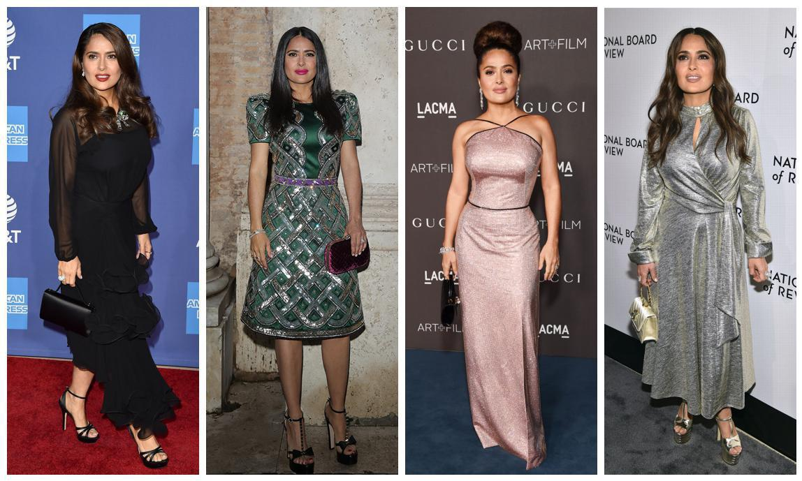 Salma Hayek demonstrates that necklines and shine are on your side when it comes to elongating your figure