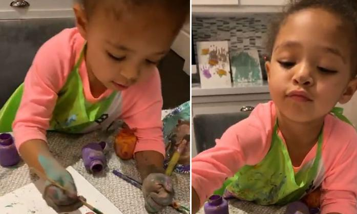 Serena Williams' daughter Olympia gives dad a manicure