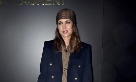 Charlotte Casiraghi of Monaco attends Saint Laurent catwalk at Paris Fashion Week