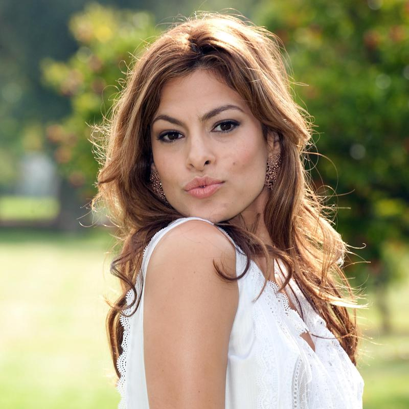 Eva Mendes in a white dress