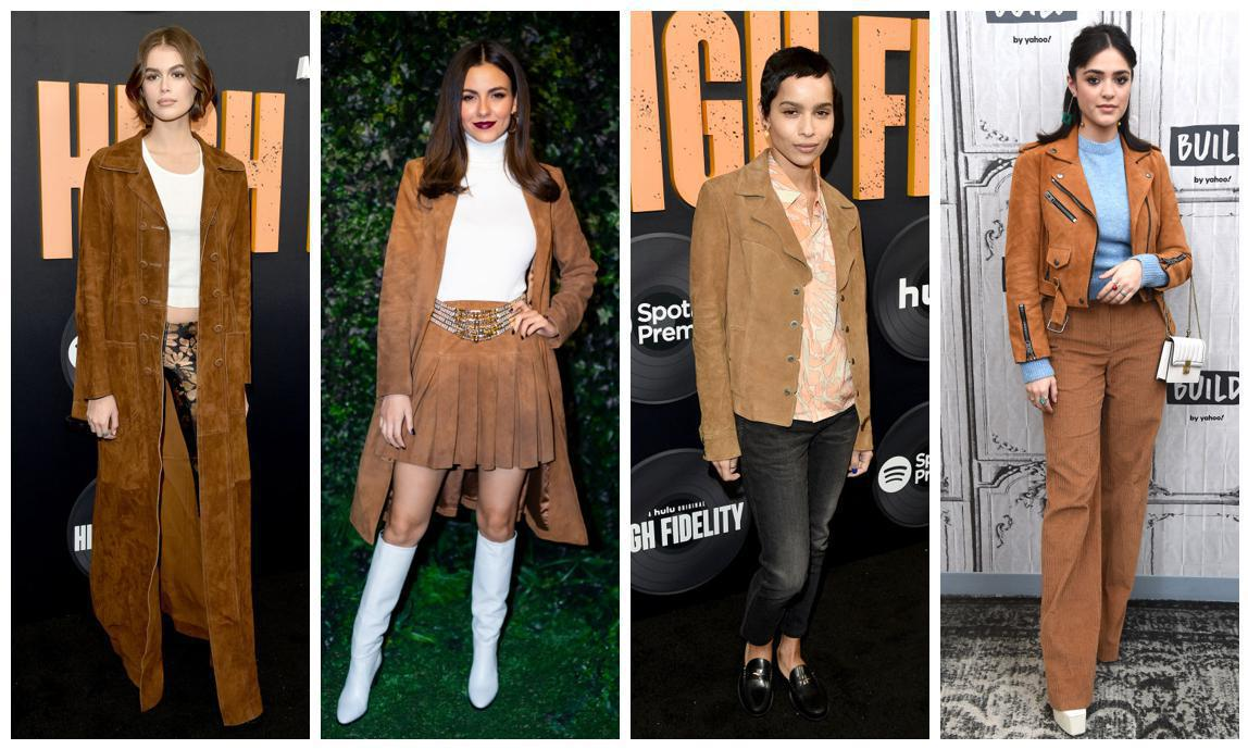 Kaia Gerber, Luna Blaise, Victoria Justice, and Zoe Kravitz in suede garments
