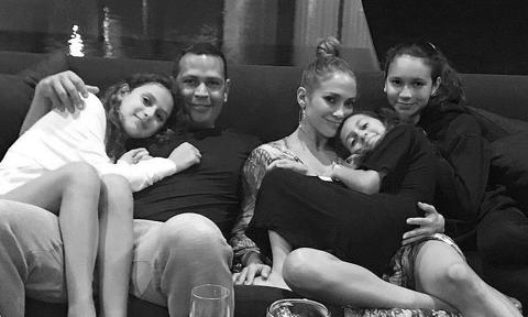 Jennifer Lopez and A-Rod with Emme, Tashi and Ella