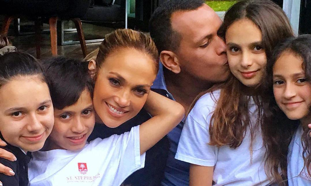 Jennifer Lopez with Alex Rodriguez and family