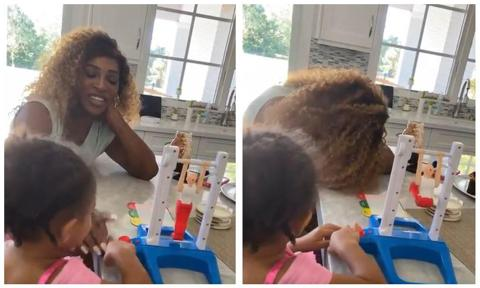 Serena Williams and daughter Olympia playdate at home