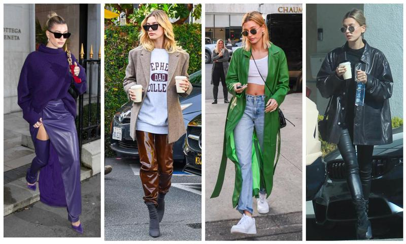 Hailey Bieber rocks the colored leather fashion trend