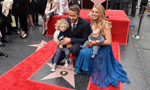 Blake Lively and Ryan Reynolds, along with their daughters, check out his star on the Hollywood Walk of Fame
