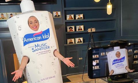 Katy Perry dressed as hand sanitizer