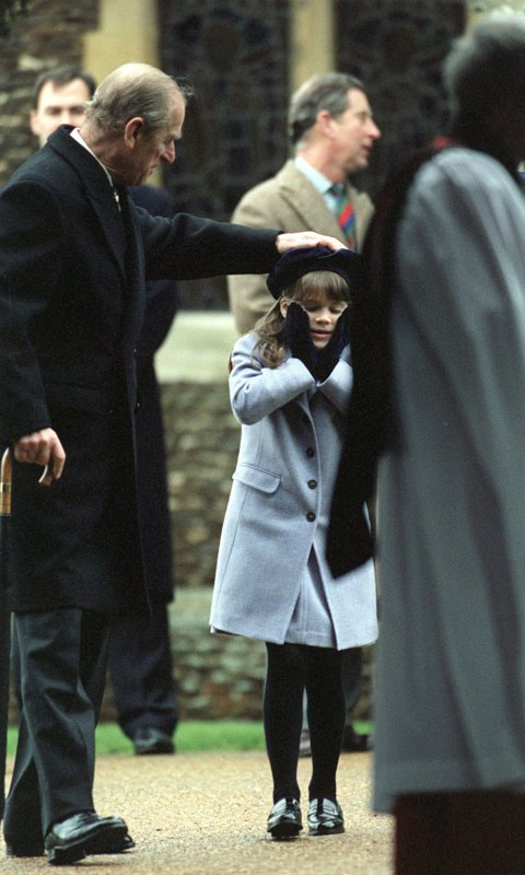 Philip played around with his granddaughter Princess Eugenie at Christmas service in Sandringham back in 1998.