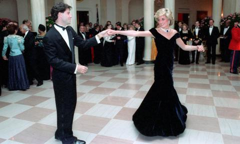 Princess Diana's iconic dress she danced with John Travolta in is now on display at Kensington Palace