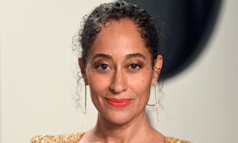 Tracee Ellis Ross rocks a curly updo at the 2020 Vanity Fair Oscar Party Hosted By Radhika Jones.